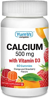 Calcium with Vitamin D3 Gummies by YumV's | Daily Dietary Supplement for Adults and Kids | Calcium 500mg + Vitamin D 1000I...