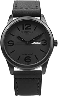 Chronos Men's Waterproof Analog Quartz Watch with Day Date Genuine Leather Band Classic Number Dial Black Brown