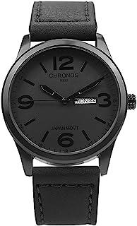 Chronos Quartz Leather Men's Wrist Watch Waterproof Classic Round Black Dial Large Number Calendar