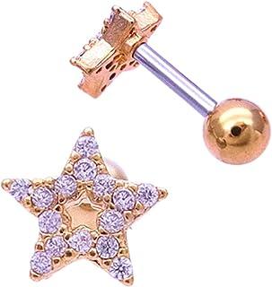 (スパイシーリップス)SPICYLIPS オープンスター STAR 星 キュービックジルコニア へリックス 軟骨ピアス ボディピアス 0967 (ゴールド)