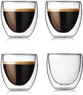 Lot de 4 tasses à café à double paroi en verre transparent isolé pour café, thé, latte, jus (80 ml)