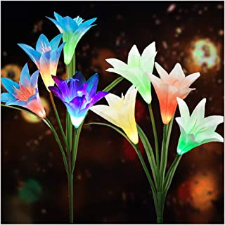 Solar Flower Lights Outdoor(2019 New Upgraded)Multi-Colors Changing LED Decorative Lights,Outdoor Solar Garden Stake Lily Lights,Solar Powered Lights for Garden(2 Pack,White&Blue)