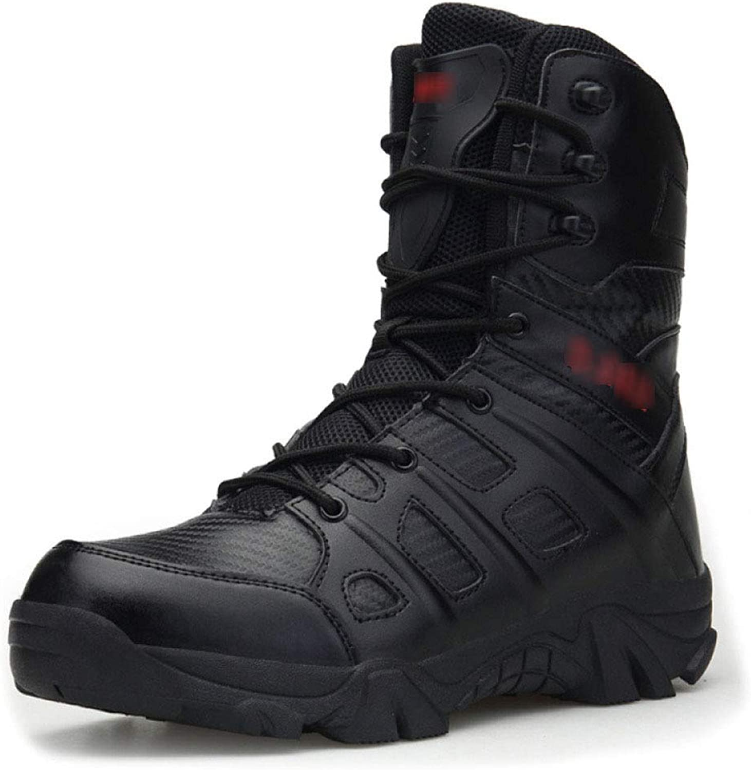 QIKAI Tactical Boots Zip Fashion Leather Comfortable Non-Slip Wear-Resistant Shock-Absorbing Combat Mountaineering Tactical Boots