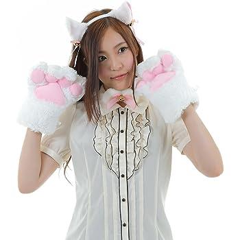 A-stylewear 萌えねこアイテム4点セット ・耳カチューシャ・首輪・もこふわ肉球・しっぽ (白猫)