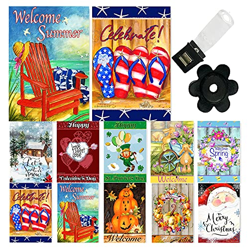 Seasonal Garden Flag Set of 10 12x18 Inch Double Sided Yard Flag Pack with Anti-Wind Clip and Stopper Outdoor Decorative Holiday Flags Spring Welcome Summer Banners for Outside