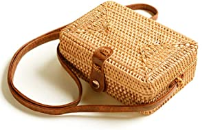 Handwoven Round Rattan Straw Bag Bali Crossbody Bag Summer Beach Boho Shoulder Bag Purse Clutch Handbag