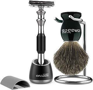 Shaving Brush and Razor Set, Anbbas Best Badger Hair Black Wood Handle Barber Safety Razor and Holder Stand for Mens Home Travel Wet Shave