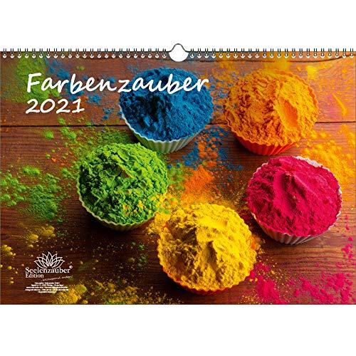 Farbenzauber DIN A3 Kalender für 2021 Farben Colours - Geschenkset Inhalt: 1x Kalender, 1x Weihnachts- und 1x Grußkarte (insgesamt 3 Teile)