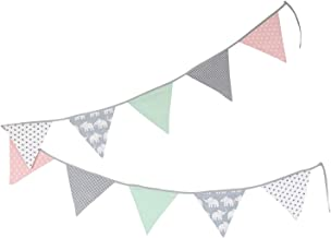 100% Cotton Fabric Bunting Flag Garland Pennant Banner by ULLENBOOM | Elephant/Star/Checkered | Baby Shower/Party/Nursery | 11 Ft - Girls Mint/Pink