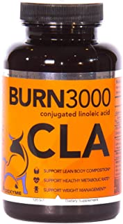 Burn 3000 - High Potency Conjugated Linoleic Acid - Natural Weight Loss - Increase Lean Muscle Mass - Non-GMO and Vegan (120 Soft Gels)