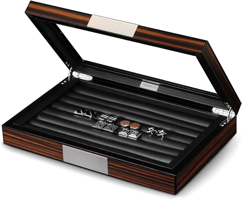 Lifomenz Co Wood Cufflink Box with Glass Window Cufflink Display Case Ring Organizer and Cufflink Box for Men Hold 36-46 Pairs