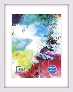RPJC 14x18 Solid Wood Poster Frames with Cover Display Pictures 11x14 with Mat or 14x18 Without Mat for Wall Mounting Hanging Picture Frame White