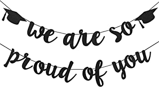 2019 Graduation Party Decorations- Black Glittery We are So Proud of You Graduation Banner,Graduation Party Decorations,Congratulations Grad Party Decorations