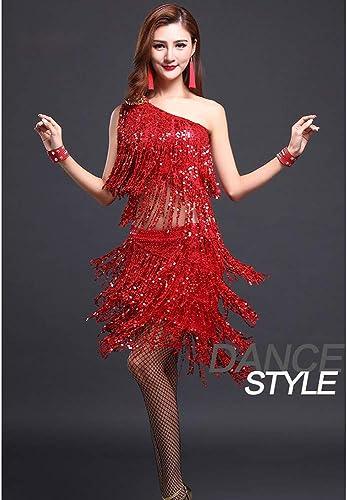 XHTW&B Latin Danse Les Costumes Aux Femmes Paillette Gland sans Manches Jupe Les Robes Flexible étape élégant Fête Concurrence Robe