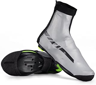 Cycling Shoe Covers Thermal Biking Shoe Covers Windproof Cycling Overshoes High Reflective Water-Resistant Cold Weather Warm Tight Fit Foot Covers for Mountain Road Bike Shoes