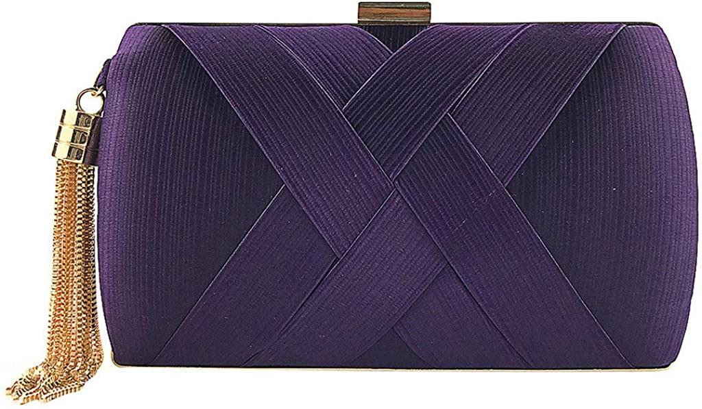 Women Fashion Fringe Clutch Silk Solid Single Straps Square Evening Package Wedding Wallet Minaudiere