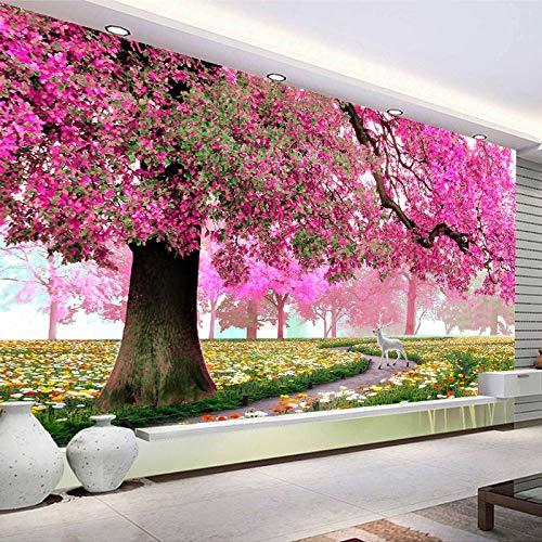 Papel pintado mural imagen 3D Mural de pared personalizado, papel tapiz con foto de cerezo romántico, sala de estar, dormitorio, decoración de la pared del hogar, pintura, papel tapiz moderno