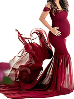 JustVH Maternity Off Shoulder Chiffon Gown Maxi...