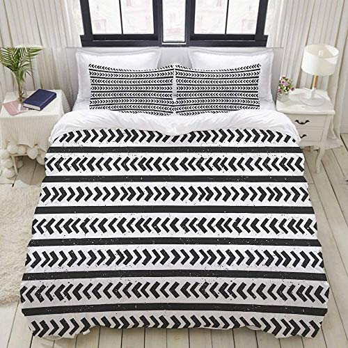 EFYSOI Duvet Cover Queen, Microfiber Home Bedroom Decor, Hand Drawn Stripes and Arrow Shapes Pattern with Grunge Background, Four Interior Corner Ties (Not Include Comforter)
