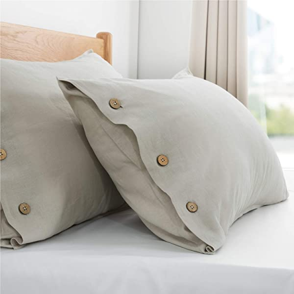 Bedsure 45 Cotton 55 Linen Pillow Cases 2 Pack Standard Size 20x26 Inches Nature Beauty Pillowcases For Hair And Skin Breathable Moisture Wicking Pillow Cover