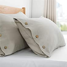 Bedsure 45% Cotton & 55% Linen Pillow Cases 2-Pack Standard Size (20x26 inches), Nature - Beauty Pillowcases for Hair and Skin, Breathable & Moisture-Wicking Pillow Cover