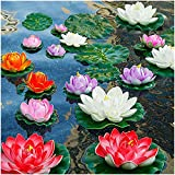 14Pcs Lily Pads for Ponds, Artificial Lotus - Realistic Water Lily Pads Leaves & Floating Foam Lotuses for Garden Koi Fish Pond Aquarium Pool Wedding Decor