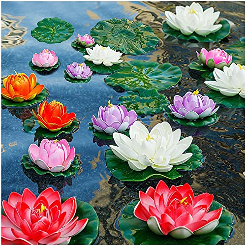 14Pcs Lily Pads for Ponds, Artificial Lotus – Realistic Water Lily Pads Leaves & Floating Foam Lotuses for Garden Koi Fish Pond Aquarium Pool Wedding Decor