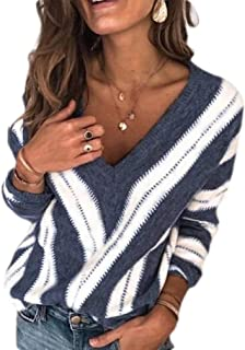 Macondoo Women Deep V Neck Knitted Winter Striped Pullover Jumper Sweaters
