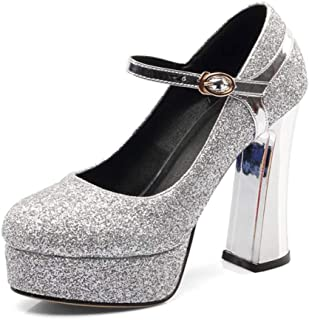 Energyers Bling Women Platform Pumps Sexy Thick High Heels Round Toe Gold Silver Party Buckle Women Shoes Footwear