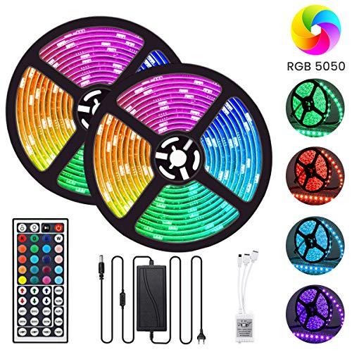 Striscia LED 10m, GLIME Strisce LED RGB Impermeabile con Telecomando per TV Stanza Festa Balcone Bar