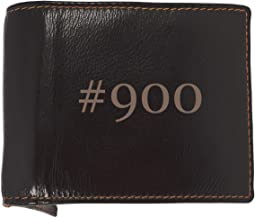 #900 - Soft Hashtag Cowhide Genuine Engraved Bifold Leather Wallet