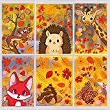 DERAYEE 120Pcs Fall Window Clings, Thanksgiving 6 Large Sheets Window Decal Stickers Autumn Maple Leaves Pinecones Acorns Squirrels Foxes for Home Decoration