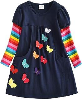 e244d0102a9 VIKITA Robe Enfant Broderie Appliquée Fleur Été Coton Fille 1-8 Ans