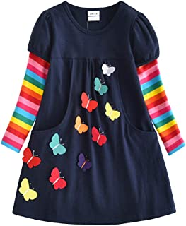 VIKITA Vestidos T-Shirt Manga Larga Algodón Casual Niñas 1