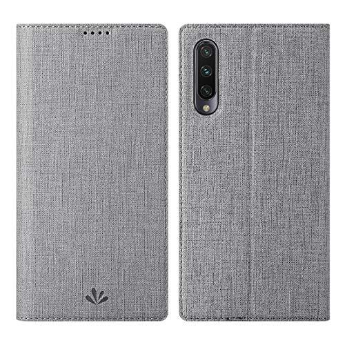 Eastcoo Xiaomi Mi A3 Hülle, Flip Folio Wallet Leder Hülle Tasche Schutzhülle Handyhülle mit [Standfunktion][Magnetic Closure] für Xiaomi Mi A3 (Mi A3, Gray)