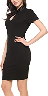 ANGVNS Women's Sexy Short Sleeve Business Bodycon Pencil Formal Keyhole Work Dress