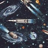 Baumwolle KIM Weltall, Raketen, dunkelblau Ökotex 50x147