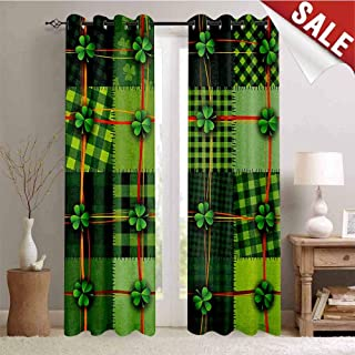Flyerer Irish, Waterproof Window Curtain, Patchwork Style St. Patricks Day Themed Celtic Quilt Cultural Checkered with Clovers, Room Darkening Wide Curtains, W72 x L96 Inch Multicolor