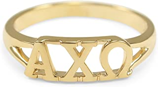 Alpha Chi Omega 14k Gold Plated Sorority Ring with Greek Letters
