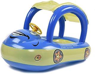 Earlyad Bebé Piscina Flotador Asiento Barco Inflable Anillos de natación Forma de Coche Juguetes de Piscina con sombrilla y Bomba de Aire Safty por 0-3 años