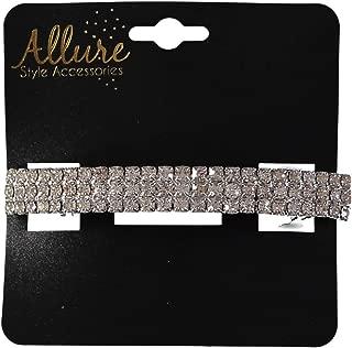 Allure Women's Rhinestone Hair Barrette, 3 Row