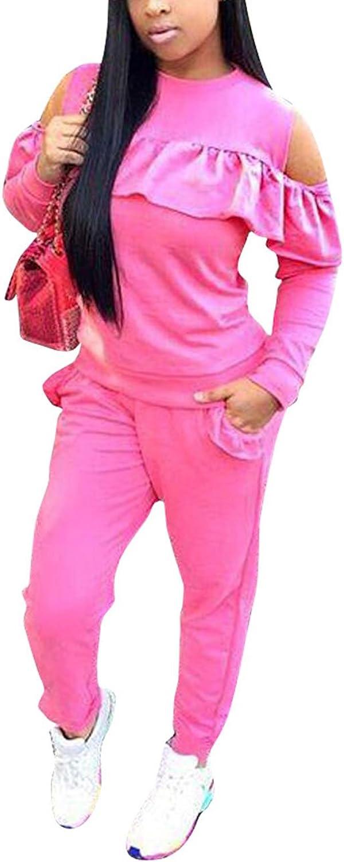 Akmipoem Women's Ruffle 2 Piece Outfits Cold Shoulder Sweatshirt and Long Pants Set Tracksuit