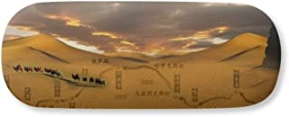 Map Desert Along the Way to the Silk Road Gl Case Eyegl Hard Shell Storage Spectacle Box