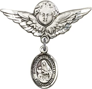 Sterling Silver Baby Badge with St. Madonna Del Ghisallo Charm and Angel with Wings Badge Pin