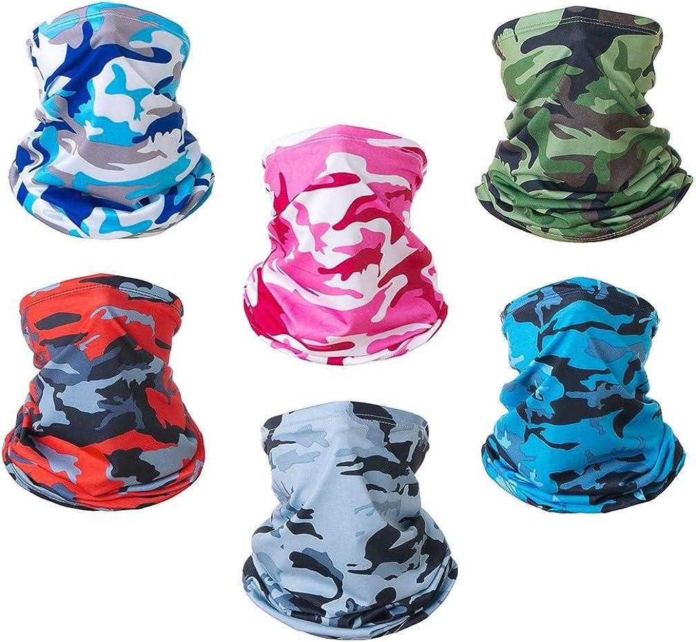 6 Pcs Neck Gaiter Sun UV Protection Face Mask Windproof Sunscreen Breathable Bandana Balaclava for Outdoor