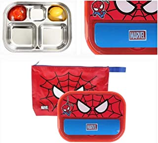 Marble Spider Man All-In-One Lunch Box And Spoon Holder, Stainless Steel
