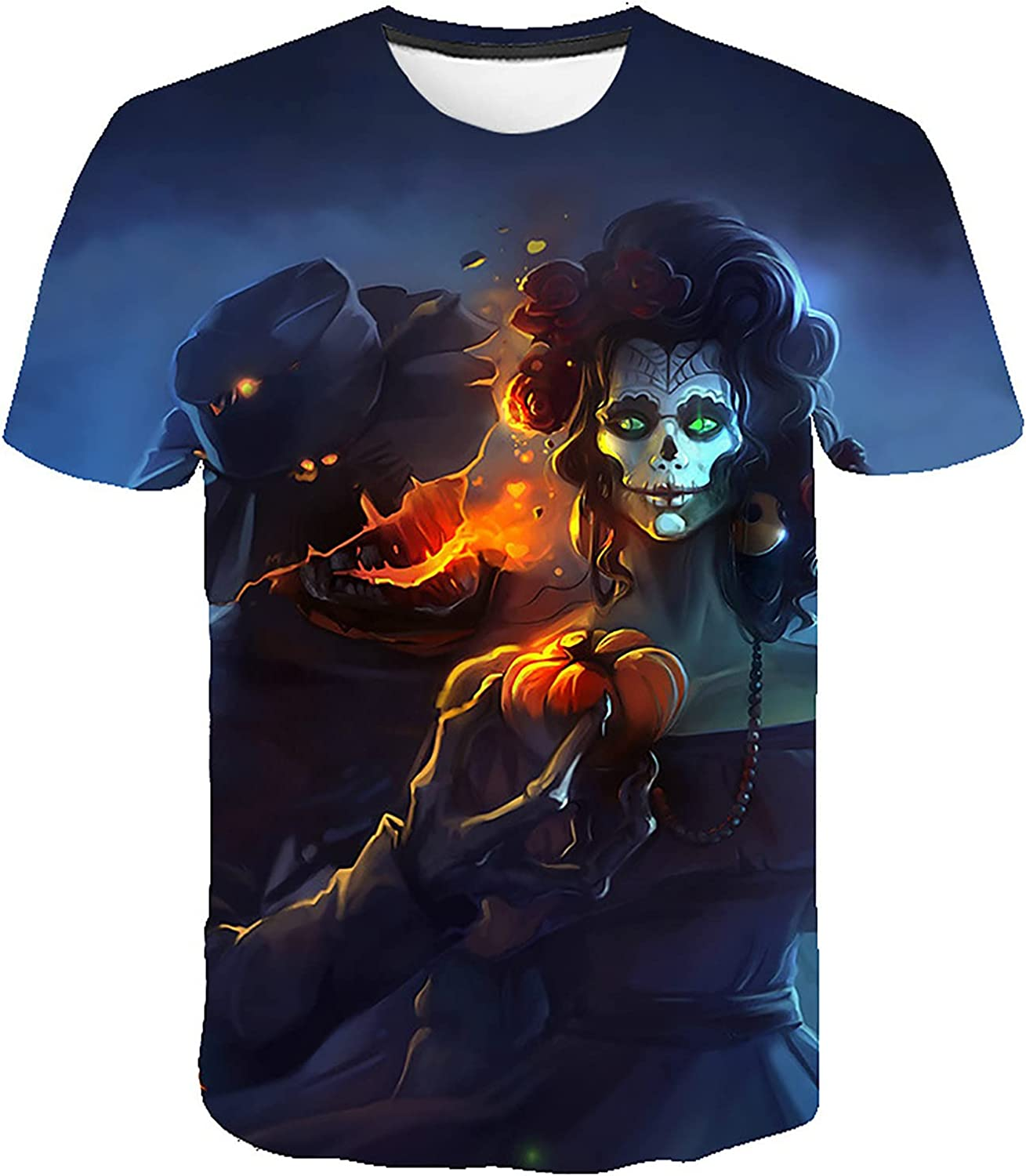 Short Sleeve T-Shirts for Men Halloween Fashion Printed Pullover Tops Casual Summer Crewneck Blouse