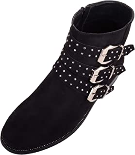 Absolute Footwear Womens Chelsea/Biker Ankle Suede Boots/Shoes with 3 Studded Strap Design
