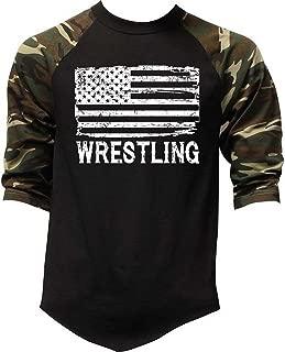 Men's Wrestling American Flag Camo Raglan Baseball T-Shirt Camo