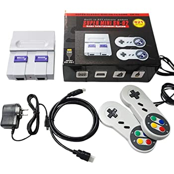 oukery Super Mini SNES NES Retro Classic Video Game Console TV Game Player ilt-in 821 Games with Dual Gamepads
